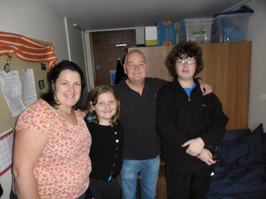 Mum, Ruby, Dad and Michael at my new Flat at the Lawns in Cottingham