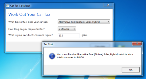 Car Tax Calculator Result