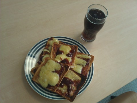 Pizza Bread - Its basically toast with BBQ sauce and Cheese on, I'm a Culinary genius.
