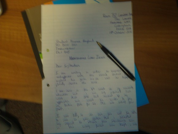 My angry letter to Student Finance England - Hand Written!