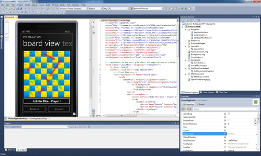 Evil Squash WP7 Visual Studio Design