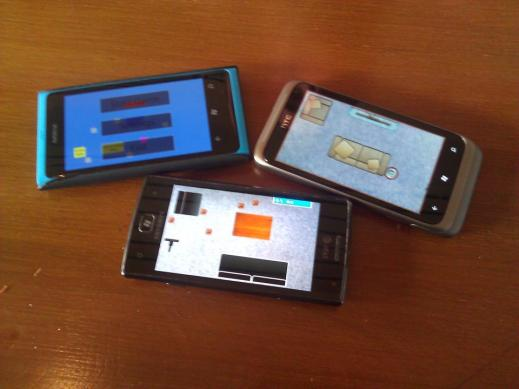 "3 Windows Phones, Running 3 different versions of ""Sweepy Cleaner"""