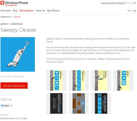 Windows Phone Marketplace - Sweepy Cleaner