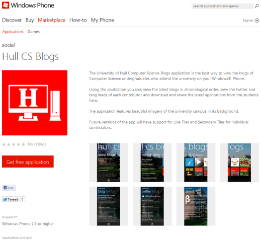 Hull CS Blogs on the Windows Phone Marketplace Web Store