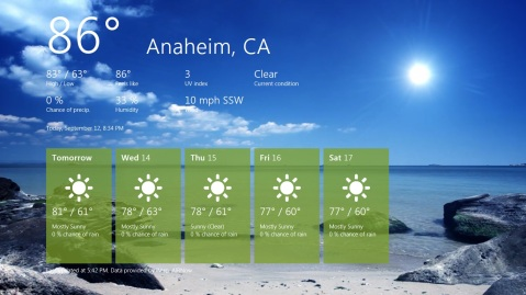 Windows 8 Weather Application Metro UI