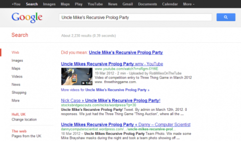 Did You Mean Uncle Mikes Recursive Prolog Party? -- Image Lovingly Produced by Rob Crocombe