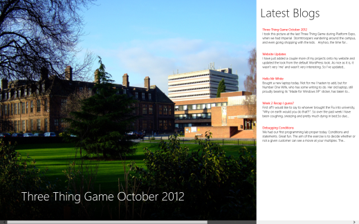 Hull CS Blogs for Windows 8 - Main Page