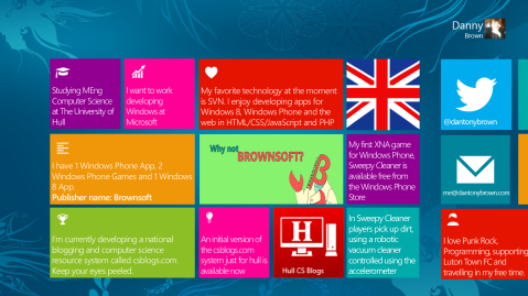 My MSP Profile Slide for the North European Summit - Windows 8 Style!