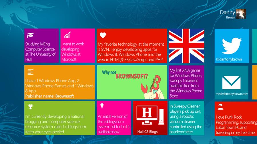 My MSP Profile Slide for the North European Summit - Windows 8 Style!