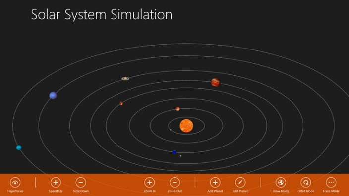 Solar System Simulation on Windows 8 - Elliptical Mode with Trajectories on