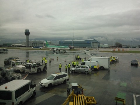 Before we boarded the plane a delegation from the Irish Parliament got off it!