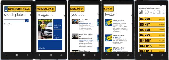 Regtransfers - Windows Phone 8 App