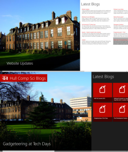 Hull Computer Science Blogs for Windows 8 - Main Page Comparison