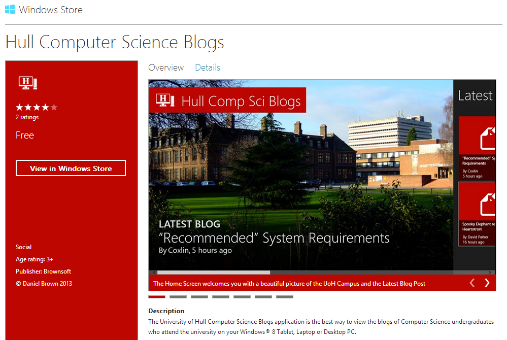 Hull Computer Science Blogs Version 2.1 in the Windows Store