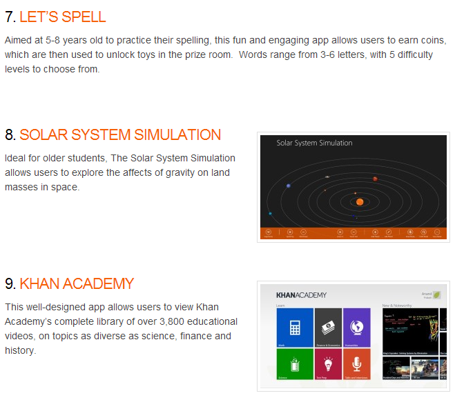 Number 8 Best Windows 8 App for Teachers and Students - Solar System Simulation