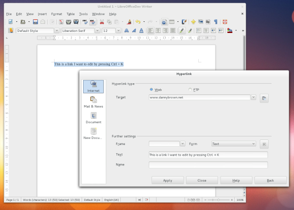 The LibreOffice Hyperlink Dialog in the Writer Application. Think of me when you invoke this using Ctrl + K!