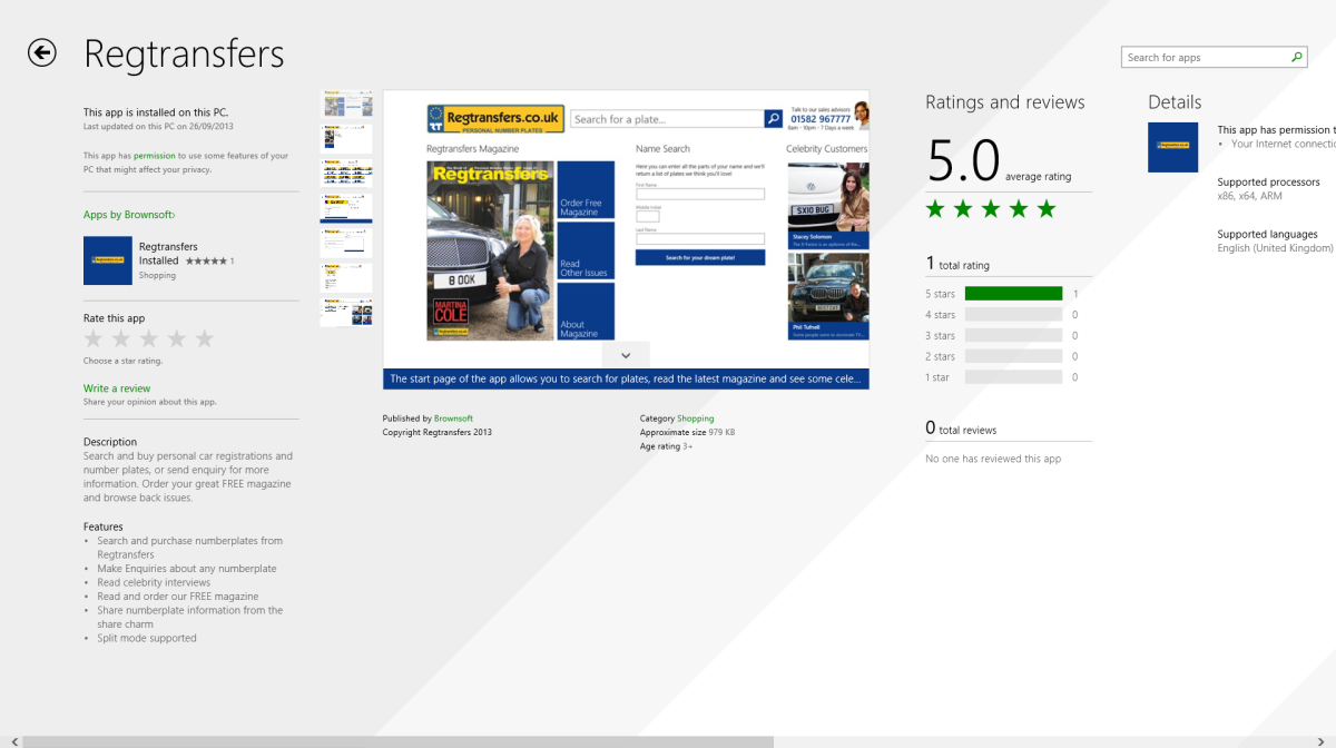 Regtransfers for Windows 8 in the Store