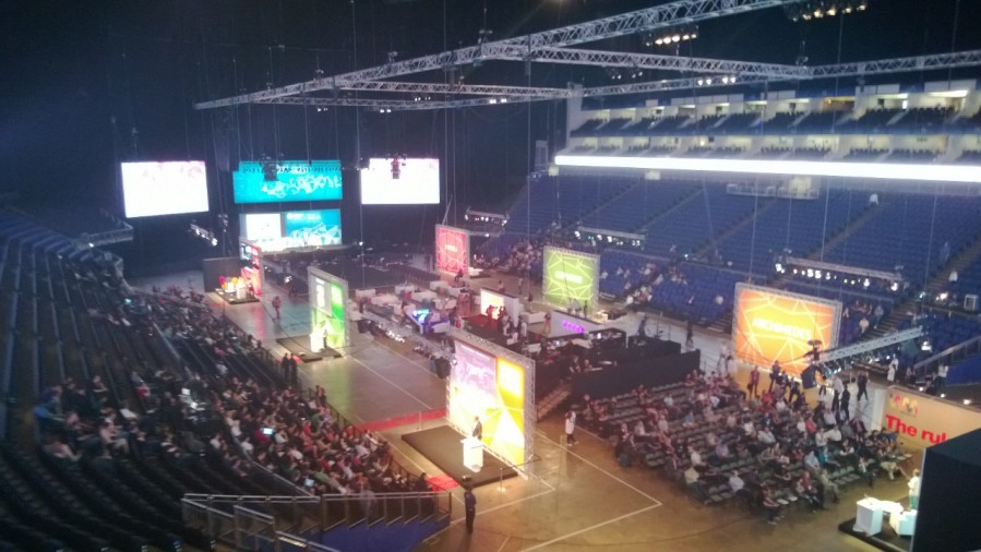 The O2 Arena and its 8 Talk stages from the Microsoft Corporate Box