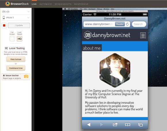DannyBrown.net iPhone Emulator