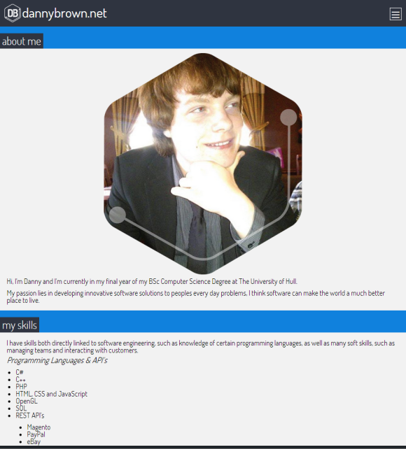 DannyBrown.net Tablet View
