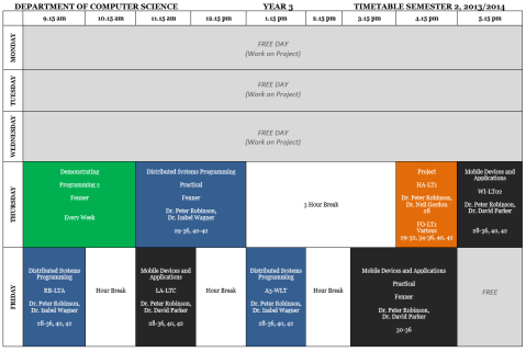 Year 3 Semester 2 Timetable