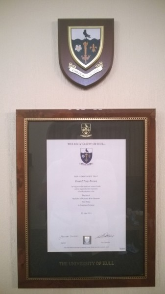 My degree certificate, and shield, on my living room wall.