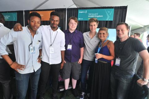 The Imagine Cup UK Team, from left to right - Mikky, Femi, Danny (me!), Guilliame, our MS representative Rebecca, and our mentor Callum