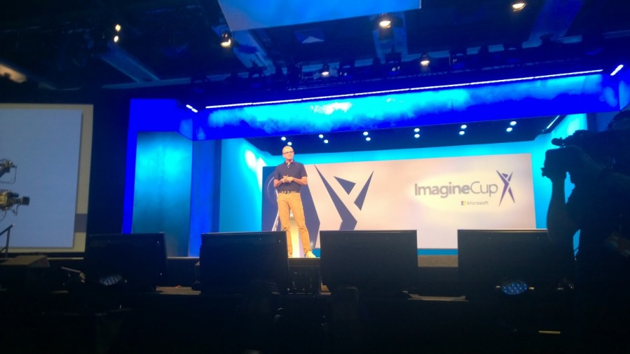 Microsoft CEO Satya Nadella introduces the Imagine Cup World Finals Result Event