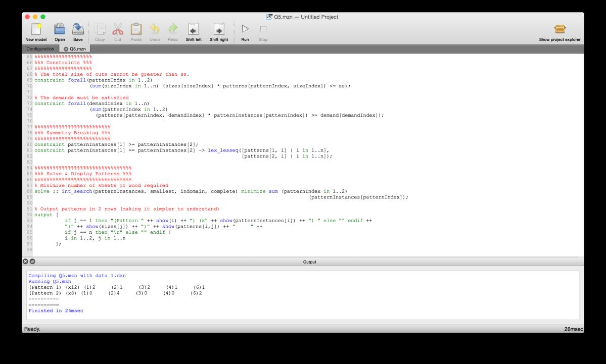 MiniZinc code in the MiniZinc IDE on Mac OS X