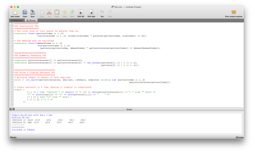 MiniZinc code in the MiniZinc IDE on Mac OS X
