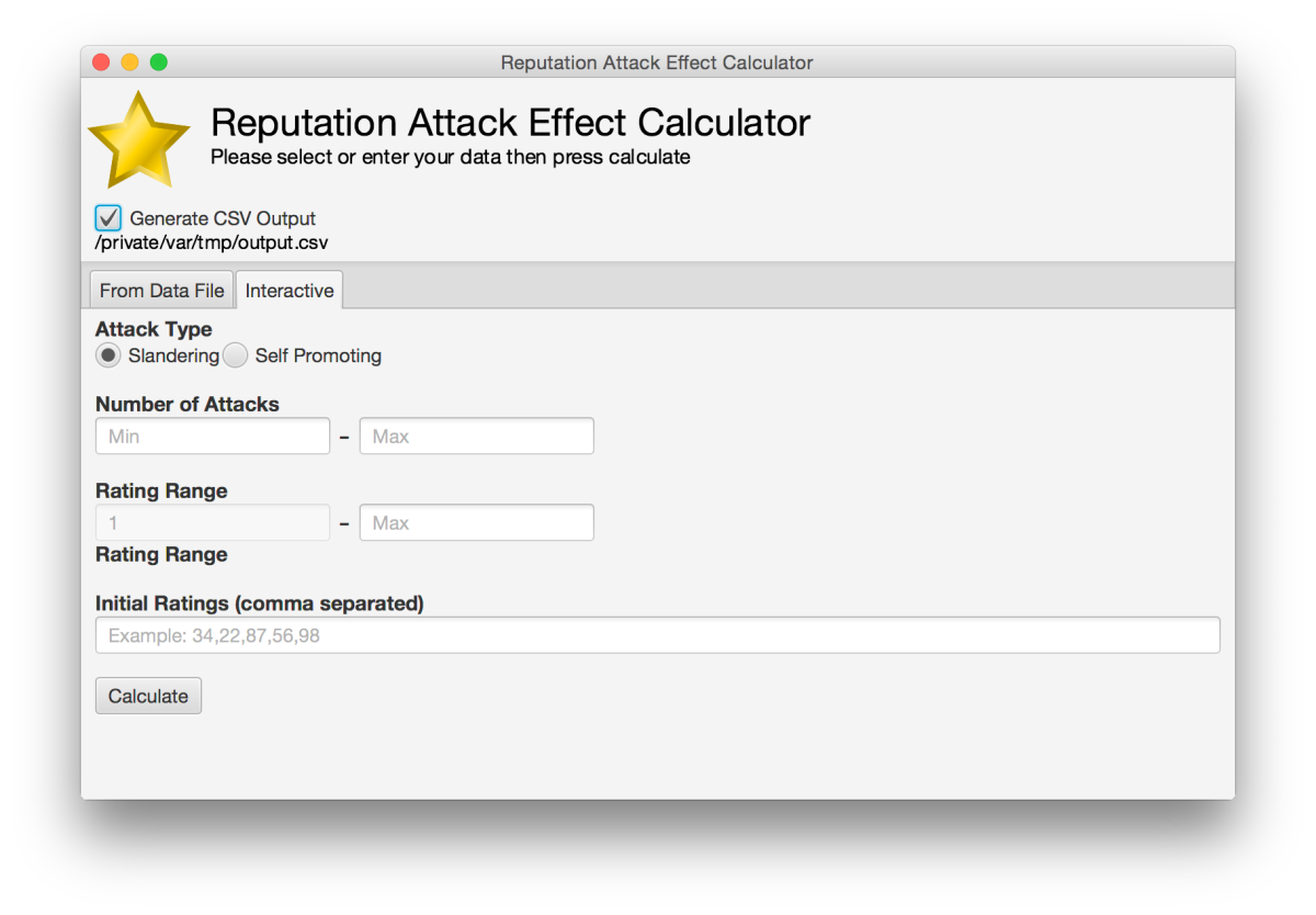 Interactive GUI for Reputation Attack Effect Calculator