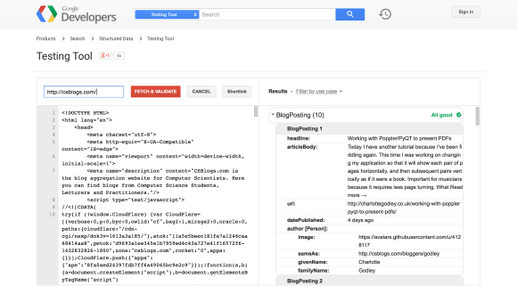 Google Structured Data Testing Tool Output