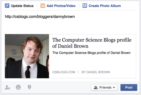 Open Graph element displayed on Facebook newsfeed