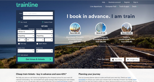 Trainline Homepage