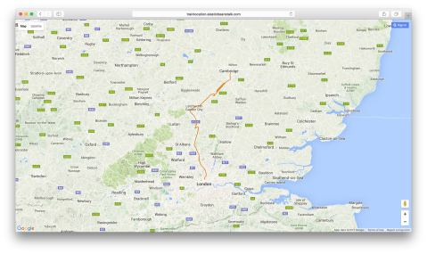 The route of my commute from Cambridge to London Kings Cross as tracked by my system