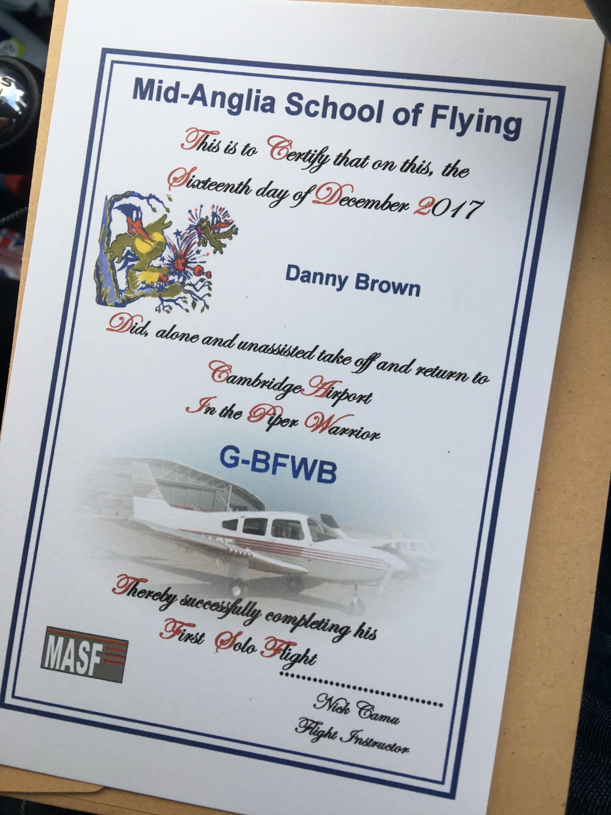 MASF First Solo Certificate